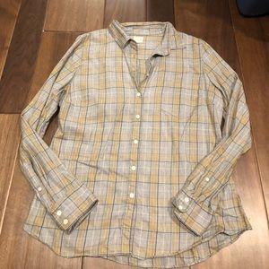 Jcrew grey & yellow button down shirt size L -NWOT